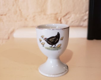 "Egg Cup with Chicken and Chicks - Marked ""Foreign"" on the bottom"