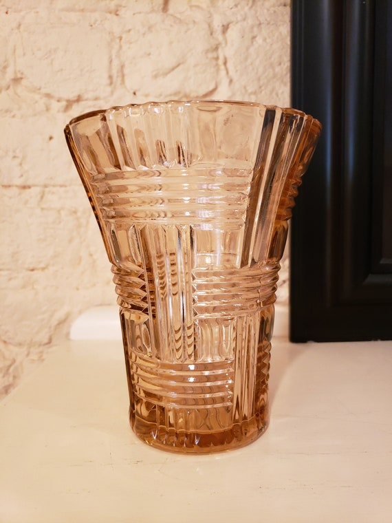 Pink Depression Glass Vase Queen Mary Basket Weave Etsy