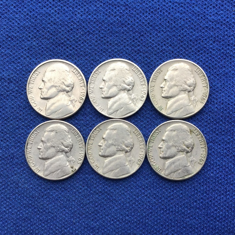 1963 D Vintage Jefferson Nickel, Old US Coins, Rare Nickels for Coin  Collecting