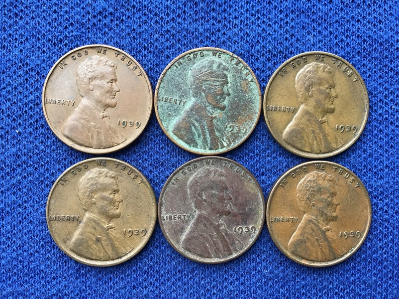 1939 P Lincoln Wheat Pennies Old US Coins Coin Collecting Lot of 6