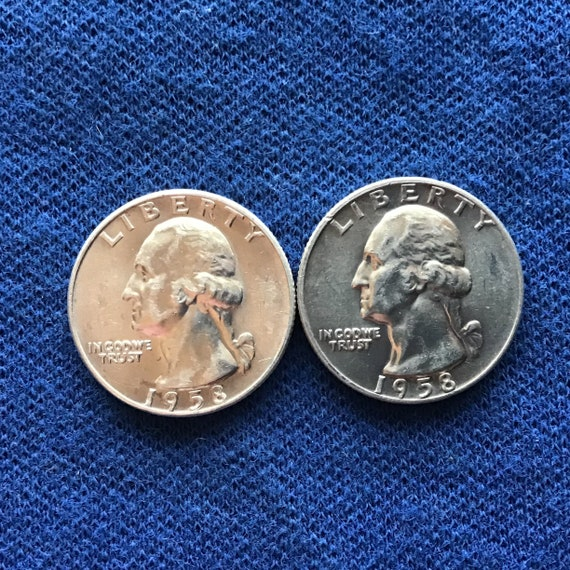 1958 D Silver Washington Quarters Old US Coins Collectible Coins 90 Percent  Silver Quarter Set of 2