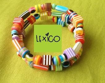 Tutti Frutti bracelet, cuff, bangle, striped beads, multicoloured, rainbow, sweets, kawaii, kitsch,