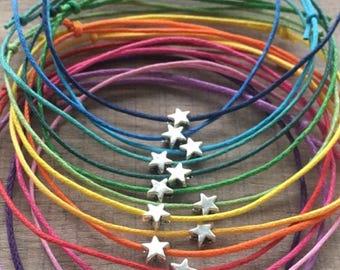 Friendship bracelet, wish bracelet, star bracelet, cotton cord bracelet