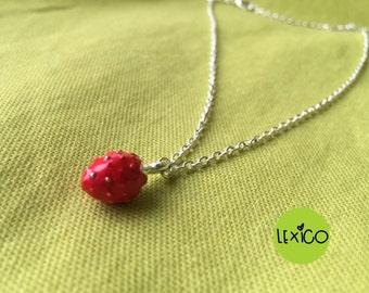 Strawberry enamel charm necklace, fruit, retro, kitsch, kawaii, summer jewellery, red