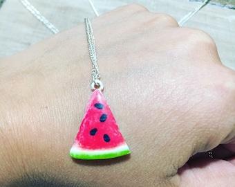 Tropical Jewellery, Watermelon Charm, Watermelon Pendant, Watermelon Necklace, Tropical Necklace, Watermelon Jewellery, Fruit Jewellery,