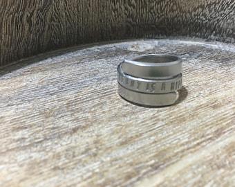 Handmade ring, hand stamped ring, spiral ring, metal ring, personalised ring