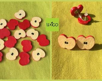 Apple Slice Earrings, studs, teacher gift, kawaii, kitsch, fruit jewellery, fruit salad, fun, retro, novelty