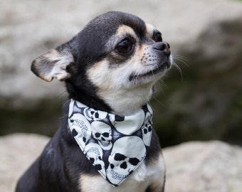 Bandana pour chien Têtes de mort phosphorescentes - à glisser sur un collier pour chien - amovible