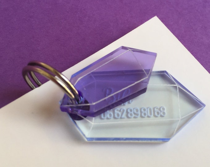 Purple crystal dog or cat tag - Custom Pet ID Tag