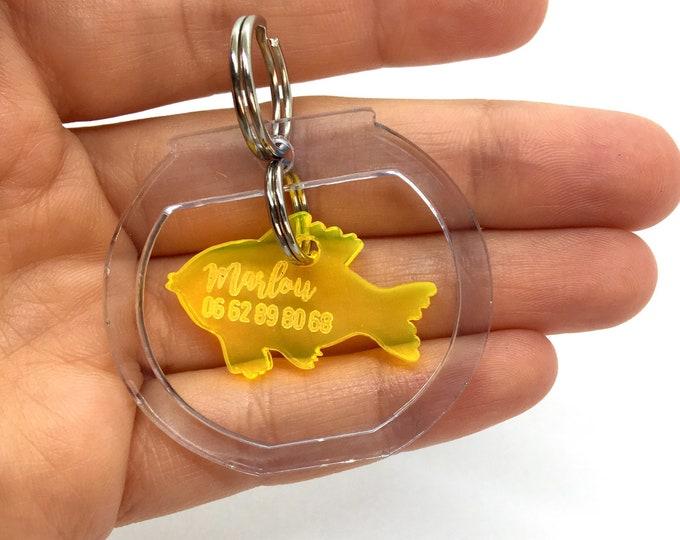 Fish bowl custom dog tag - fish tank plexiglass - Custom Pet ID Tags Laser Cut Cat Tag