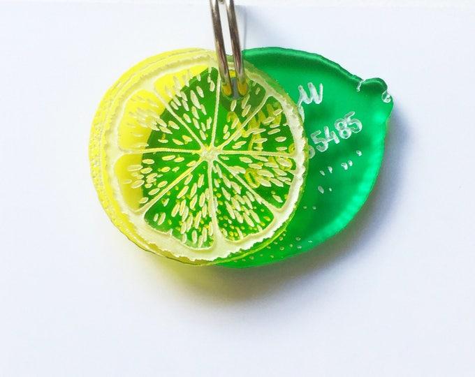 Lime dog or cat tag - Lemon custom Pet ID Tag
