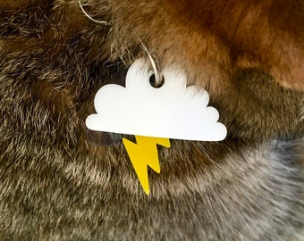 Clouds and Thunder dog or cat tag - Custom Pet ID Tag
