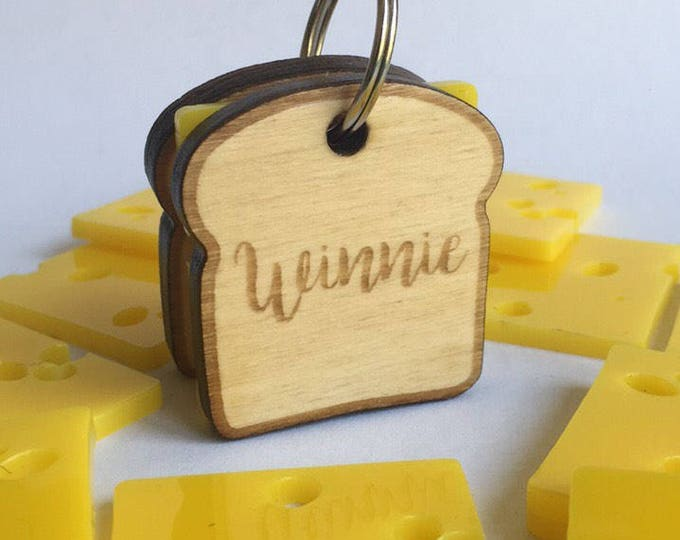Grilled cheese Sandwich dog tag -  Wood Pet ID Tag
