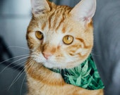 Marijuana cat bandana - to be slipped on a cat collar - removable Cannabis leaves bandana