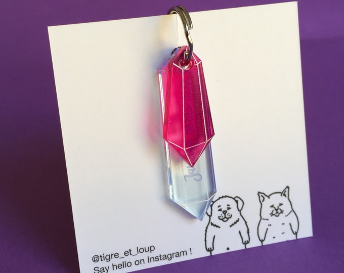 Pink crystal custom dog tag - Precious stones jewelry quartz plexiglas custom Pet ID Tag