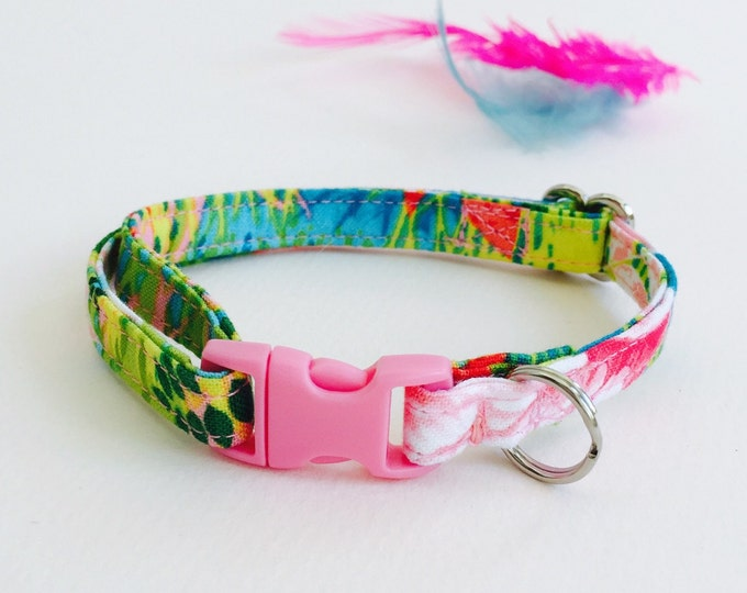 Tropical Pink Flamingo cat collar