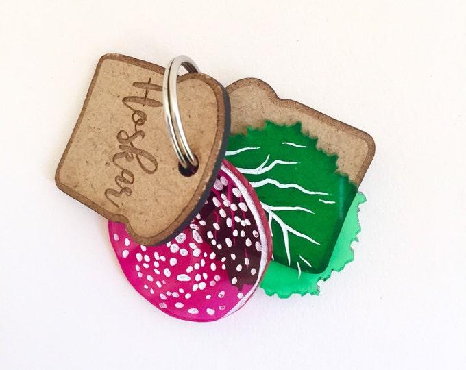 Sandwich custom dog tag - Slice of bread, salami and lettuce - Custom Pet ID
