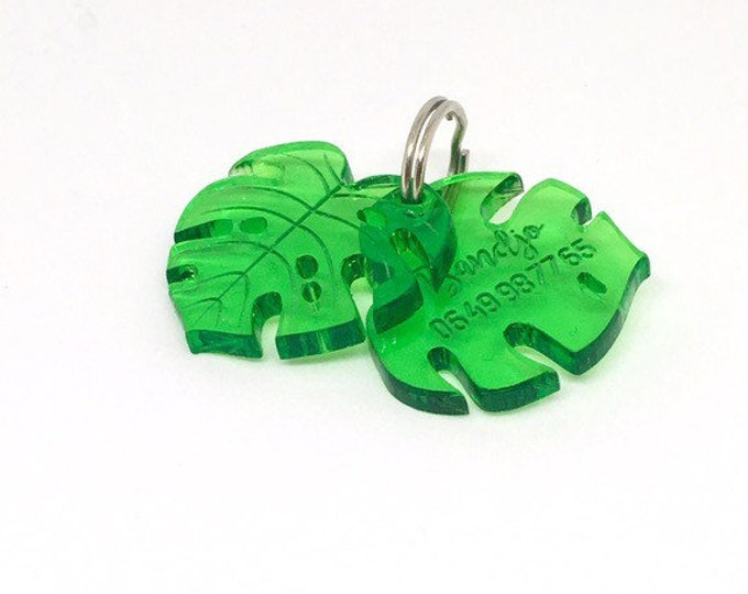 Monstera leaves dog or cat tag - Custom Pet ID Tag