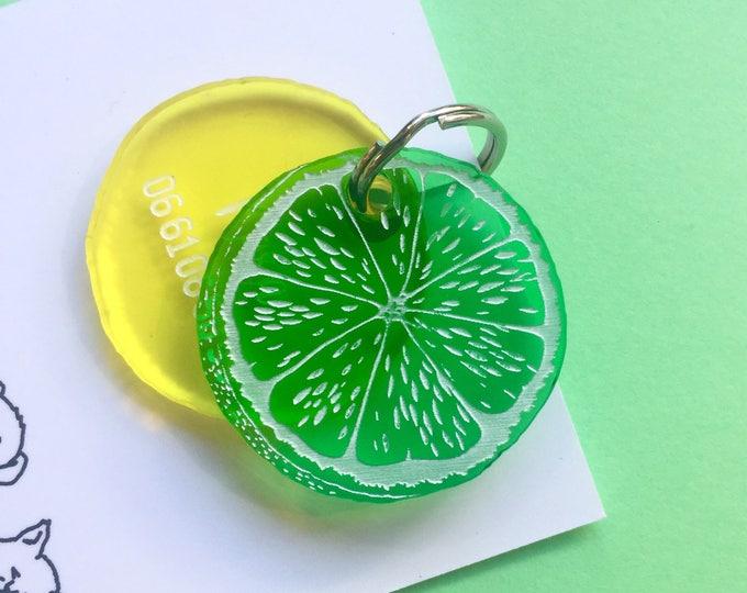 Citrus custom dog or cat tag - ID tag plexiglass orange lemon - Custom Pet ID Tags Laser Cut Cat Tag