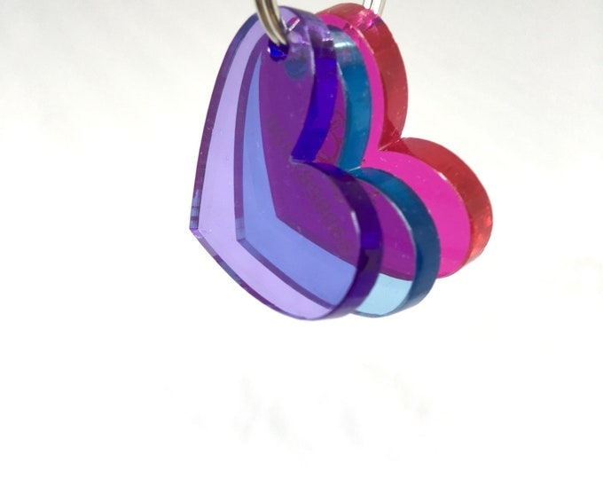 Hearts custom dog or cat tag - ID tag plexiglass love - Custom Pet ID Tags Laser Cut Cat Tag