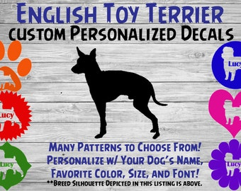 8c7917c3ae588e English Toy Terrier Personalized Silhouette Vinyl Decal Sticker - Window  Decal - Car Sticker – Dog Name Tumbler, Phone - Custom Name Decal