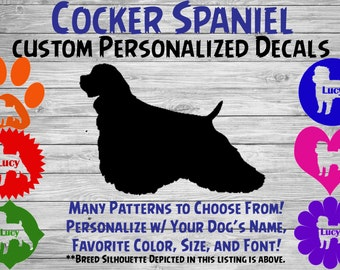 Cocker Spaniel Personalized Silhouette Vinyl Decal / Dog Breed Decal /Car Window Decal / Custom Tumbler or Phone Sticker / Dog Name Sticker