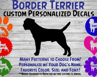 Border Terrier Personalized Dog Silhouette Vinyl Decal - Dog Sticker - Window Decal - Car Sticker – Dog Name Tumbler, Phone – Custom Decal