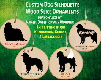 Custom Personalized Dog Wood Slice Ornament / Names / Angel / Reindeer / Memorial / Christmas Gift Decor / Komondor / Kuvasz / Labradoodle