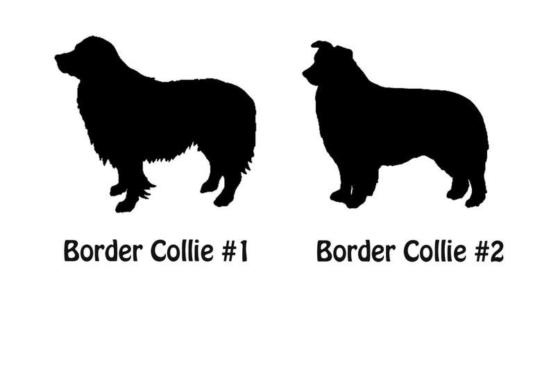 Dog Sticker Window Decal Car Sticker \u2013 Dog Name Tumbler  \u2013 Custom Name Decal Border Collie Personalized Dog Silhouette Vinyl Decal