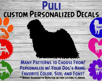 Puli Personalized Dog Silhouette Vinyl Sticker - Dog Breed Decal-Car Window Decal-Pet Gift-Custom Personalized Pet Decal
