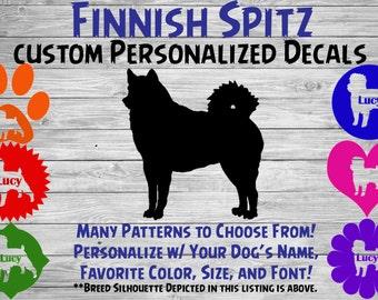 Finnish Spitz Dog Personalized Silhouette Vinyl Decal / Dog Breed Decal /Car Window Decal / Custom Tumbler  Phone Sticker / Dog Name Sticker