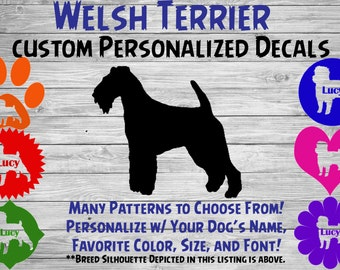 Welsh Terrier Personalized Dog Silhouette Vinyl Sticker - Dog Breed Decal-Car Window Decal-Pet Gift-Custom Personalized Pet Decal