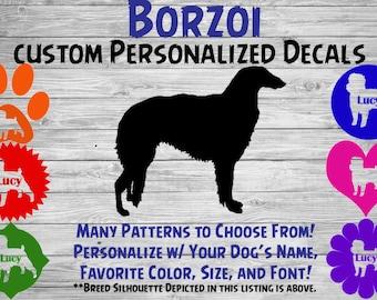 Borzoi Personalized Dog Silhouette Vinyl Decal - Dog Sticker - Window Decal - Car Sticker – Dog Name Tumbler, Phone Art Custom Name Decal