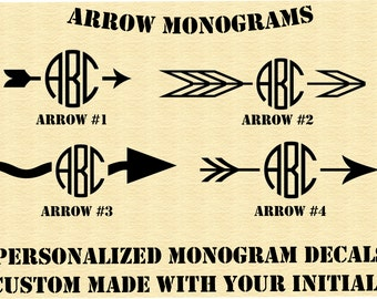 Custom Arrow Monogram Decal - Personalized Vinyl Sticker - Initials / Choose Your Size & Color / perfect for Car windows, Laptops, Tablets