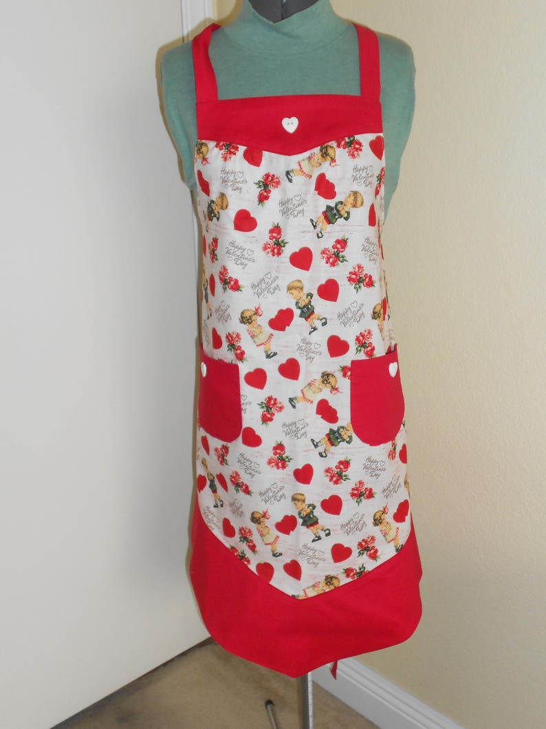 Valentine/'s Day Vintage Print Adult Apron matching child/'s apron available