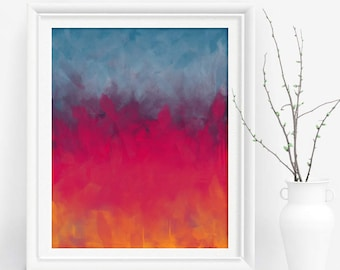 Pink And Blue Abstract Wall Art, Dining Room ...
