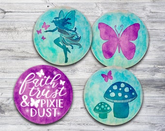 Fairy Cupcake Toppers Printable, Butterfly Stickers, Fairy Pixie Party Decor, Instant Download