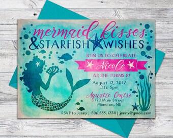 Printable Mermaid Invitation Birthday Beach Party Invite Wishes 5x7 Digital File