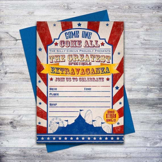 diy carnival birthday invite circus invitation write on etsy