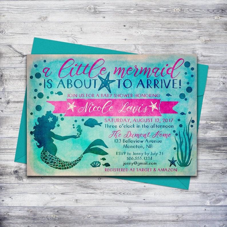 image relating to Printable Mermaid Baby Shower Invitations identify Printable Mermaid Youngster Shower Invitation Mermaid Bash Beneath the Sea Invite