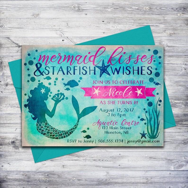 Printable Mermaid Invitation Birthday Beach Party Invite