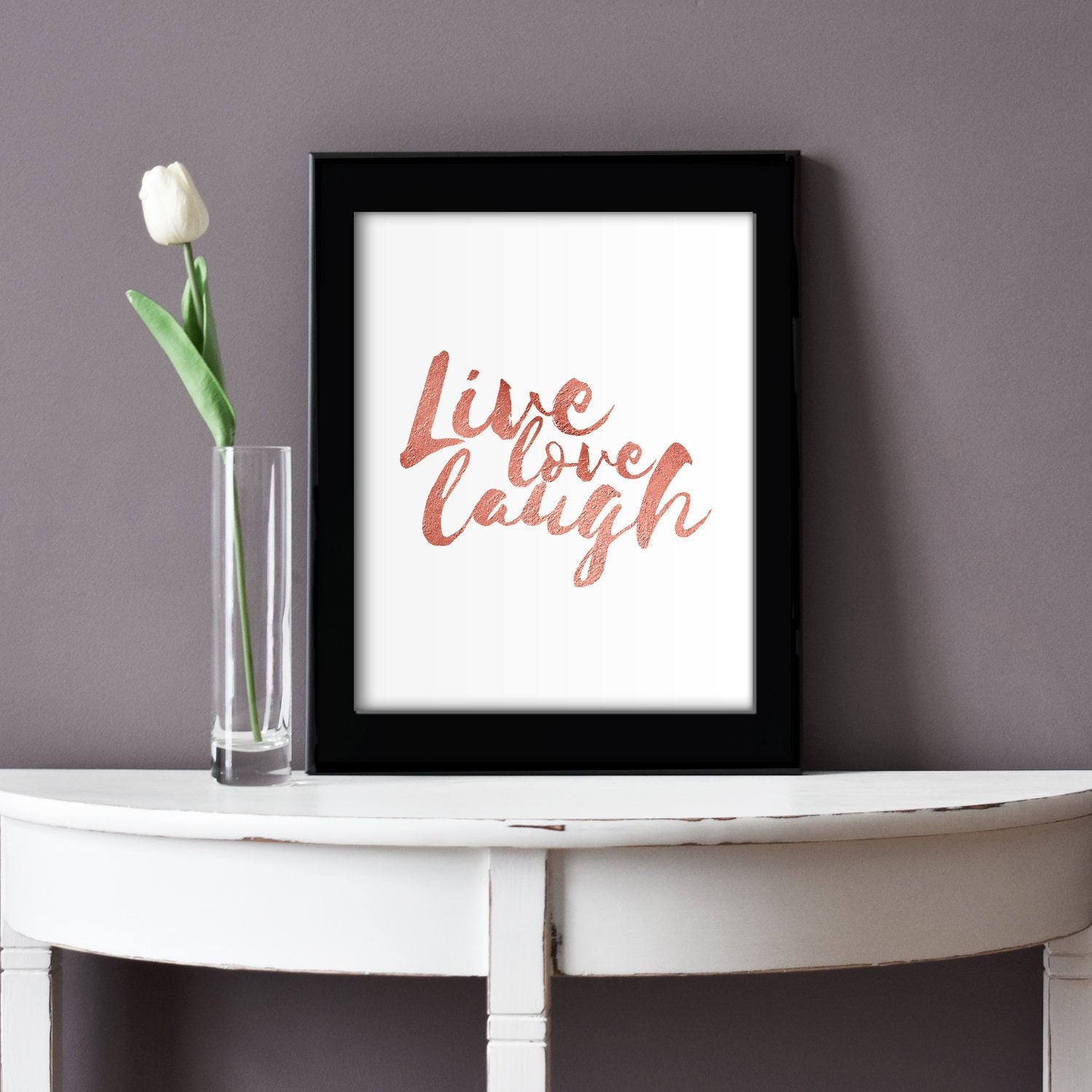 Live Love Laugh Typography Art Printable Rose Gold Home Decor Etsy