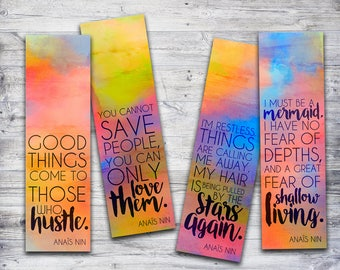 Inspirational Quote Printable Bookmarks, Anais Nin Quote Book Lover Gift, Rainbow Printable Bookmark Set