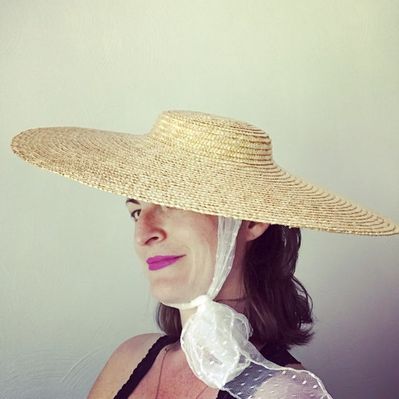 Decorated Fine Straw Bergère Sun Hat with Scarf Ties  efd7d6335e3