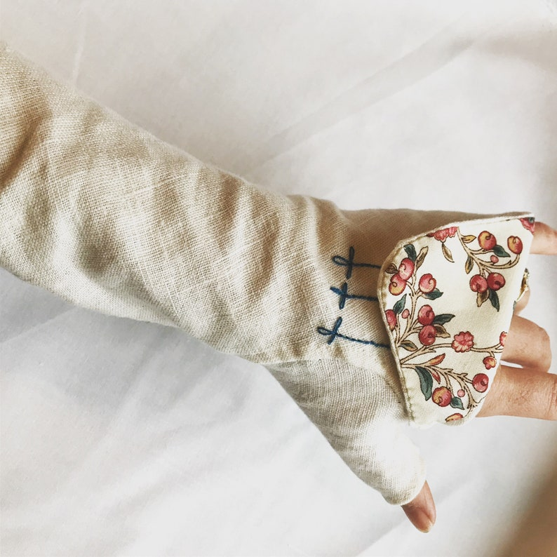 Design Your Own Fully Hand Stitched Ladies Linen Fingerless image 0