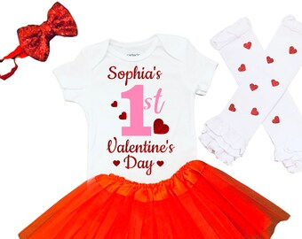 My First Valentines Day Outfit Baby Girl 1st Valentine's Day Outfit First Valentines Day Outfit Newborn Valentines Day Bodysuit