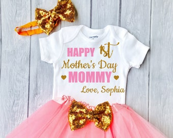 ffcfdf629 1st Mothers Day, Mothers Day Outfit Baby Girl, Personalized Mothers Day  Gift, Happy Mothers Day, Mothers Day Bodysuit, Mother's Day