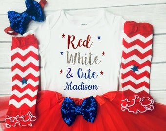 Baby Girl 4th Of July Outfit , Red White and Cute, 1st Fourth of July Girl, Baby Girls Clothing Set, First Fourth of July Outfit