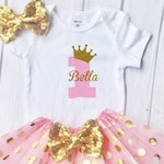 First birthday outfit girl, 1st birthday outfit Baby Girl First Birthday Outfit Pink and Gold Birthday, Cake Smash Outfit, One Cake Topper