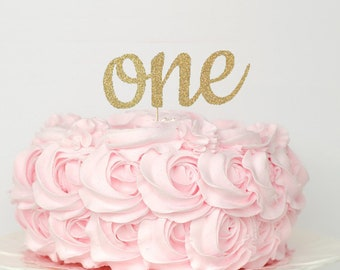 One Cake Topper 1st Birthday Glitter Gold Smash First